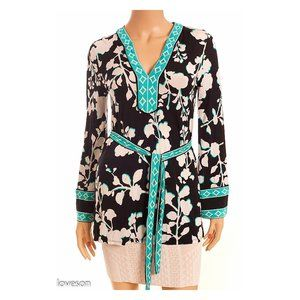 BCBGMAXAZRIA Belted Floral Bell Sleeve Blouse